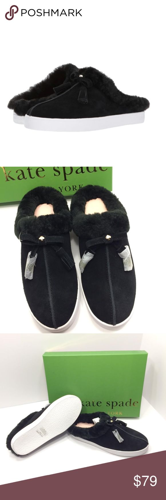 New in Box Kate Spade Limon Shearling Sneakers 6 Brand new black shearling suede slip on sneakers. These are a size 6 but they fit like a 7. Never worn new in box. Real sheep fur. The  tassels still have the protective paper wrap on them. Really nice shoe from Kate Spade. Style number on box is S1120012. Kate Spade Shoes Mules & Clogs