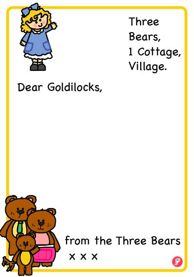 Three Bears Letter to Goldilocks Writing Frame.