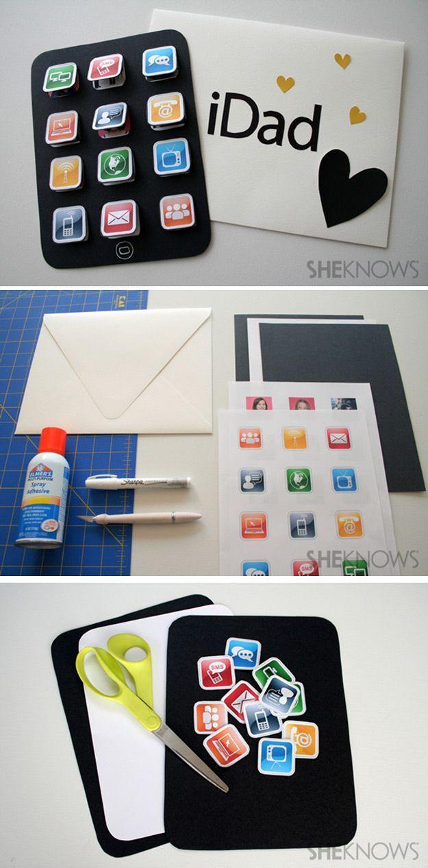 Easy Creative DIY Father's Day Card Ideas | iDad Card Idea by DIY Ready at diyre...