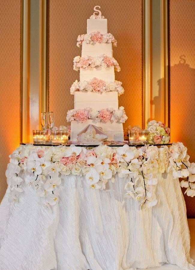 Ideas on how to decorate wedding cake table for Wedding cake table decorations