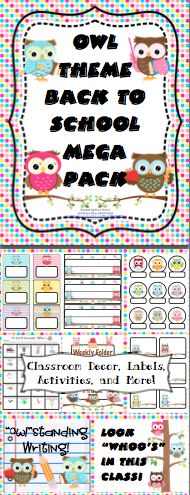 Owl Theme Back to School Mega Pack- Make this school year a hoot with this mega pack! It is loaded with owl theme classroom decorations, open house activities, first week activities, parent communication, and more! It now includes a link to an EDITABLE file with labels, letters, and activities from the pack!  $