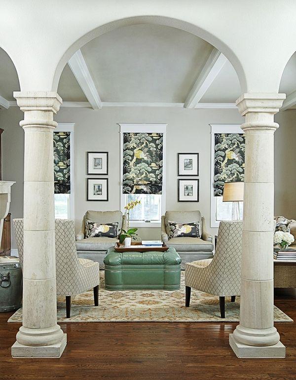 white decorative columns in living room