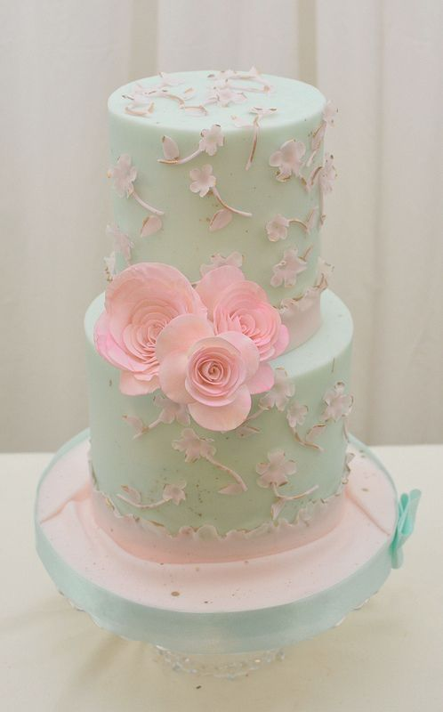 Pink Teal and Gold Cake