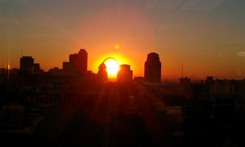 gorgeous sunrise over downtown St. Louis: Favorite Places