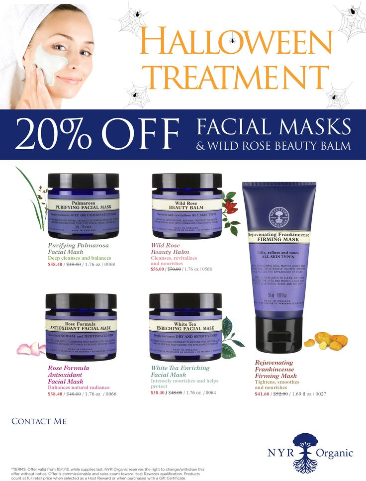 NYR Organic Halloween Treatment 20% Off Facial Mask Sale. Visit www.nyrorganiclady.com to order. If you have questions call me at 949-698-6123