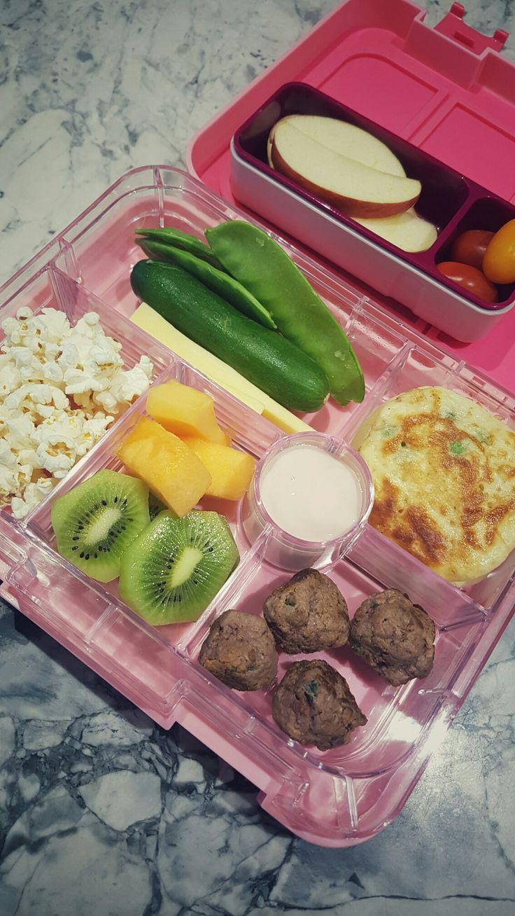 Day 3:  Crunch & Sip -  * Fresh apple slices and cherry tomatoes   Lunch / Morning Tea -  * Freshly made popcorn  * Kiwi Fruit & Rockmelon * GF Meatballs * Homemade Peas & Corn Fritters * Mini Cucumbers & Cheese Sticks & Snow Peas * Strawberry Yoghurt