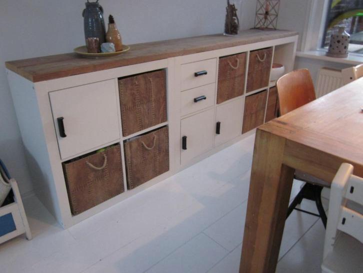 IKEA Kallax hack dressoir wit met steigerhout