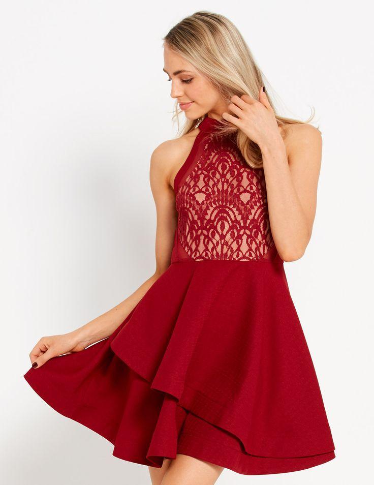 Red Alert Lace Bodice Dress | Dotti
