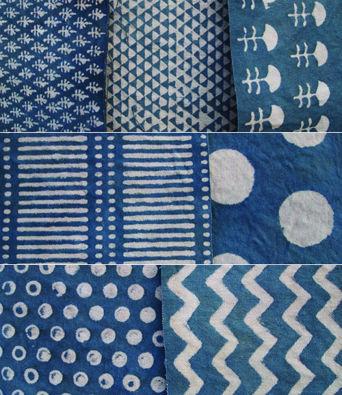 Japanese indigo patterns.