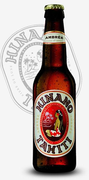 Cerveja Hinano Ambrée, estilo Amber Lager, produzida por La Brasserie de Tahiti, Taiti. 5.5% ABV de álcool.