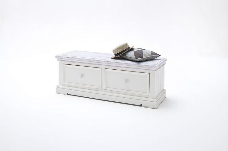 Sitzbank Elsa II Massivholz / Kiefer weiß passend zum Möbelprogramm Elsa 1 x Sitzbank mit 2 Schubkästen Maße: B/H/T ca. 120 x 40 x 45 cm Aufbauart: aufgebaut...