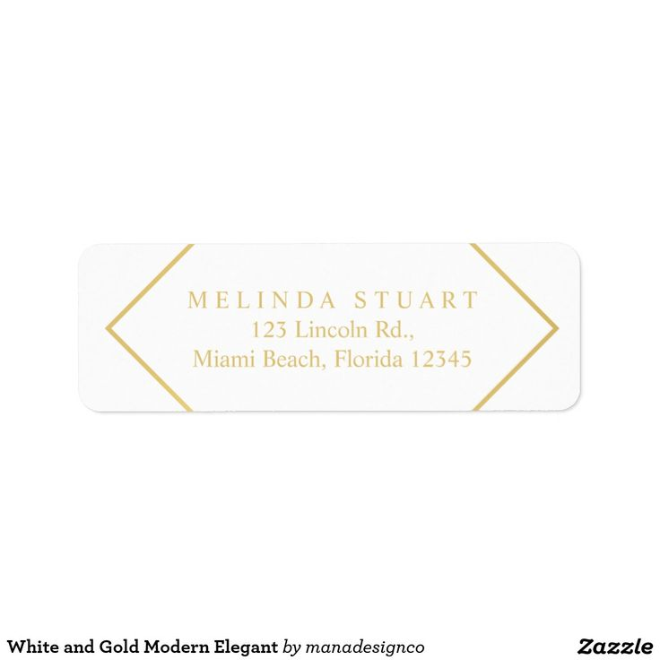 White and Gold Modern Elegant Geometric Return Address Label. Perfect for a makeup artist, designer, fashion stylist, consultant, lawyer, realtor and many other professionals.