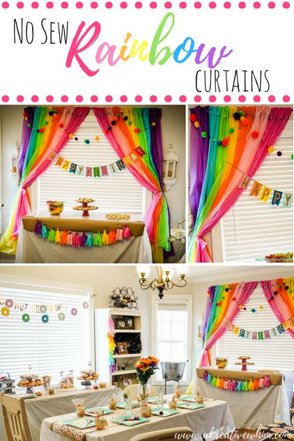 Rainbow Party Backdrop No Sew Rainbow Curtains  A Kreative Whim Kids  Rainbow party