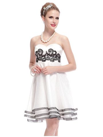 Elegant Sweetheart Neck Knee-Length Strapless Dress | Stylish Beth