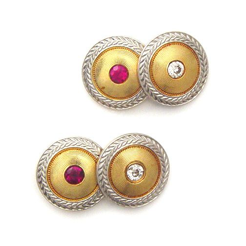 A Pair of Edwardian Ruby and Diamond and Cufflinks
