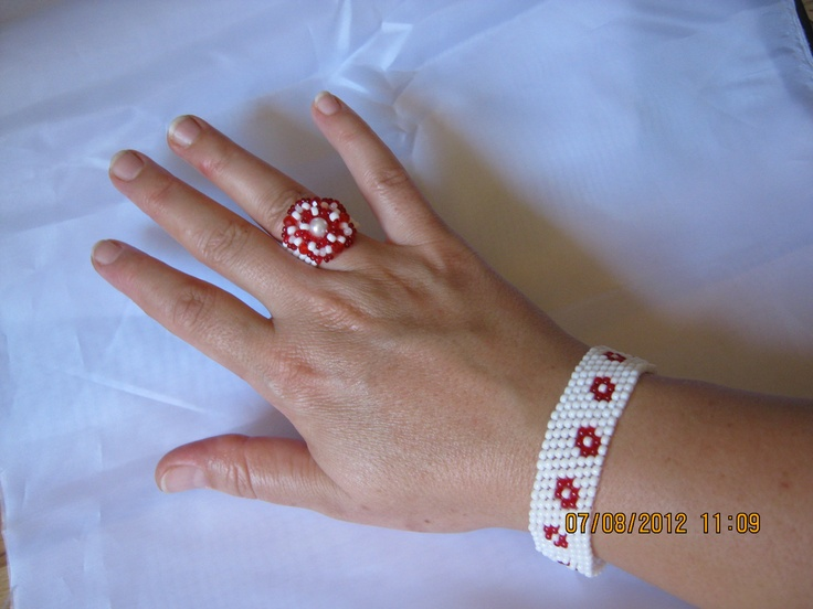 the white-red ring and bracelet
