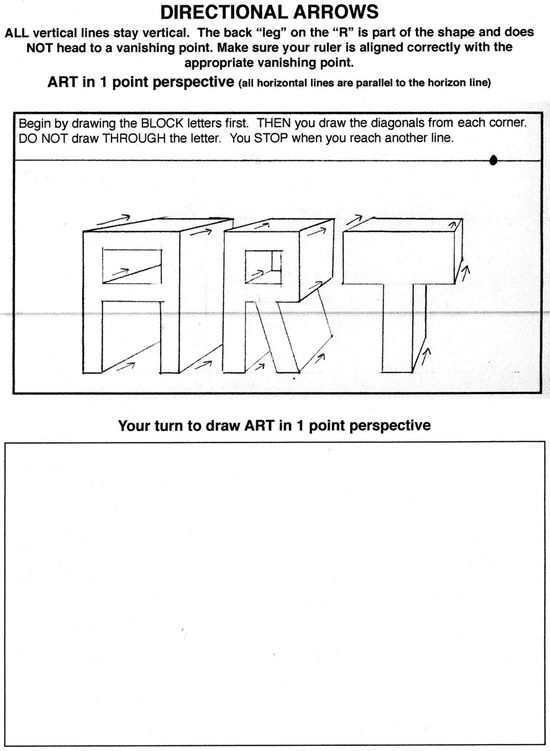 1 Point Perspective Worksheet - Bing images