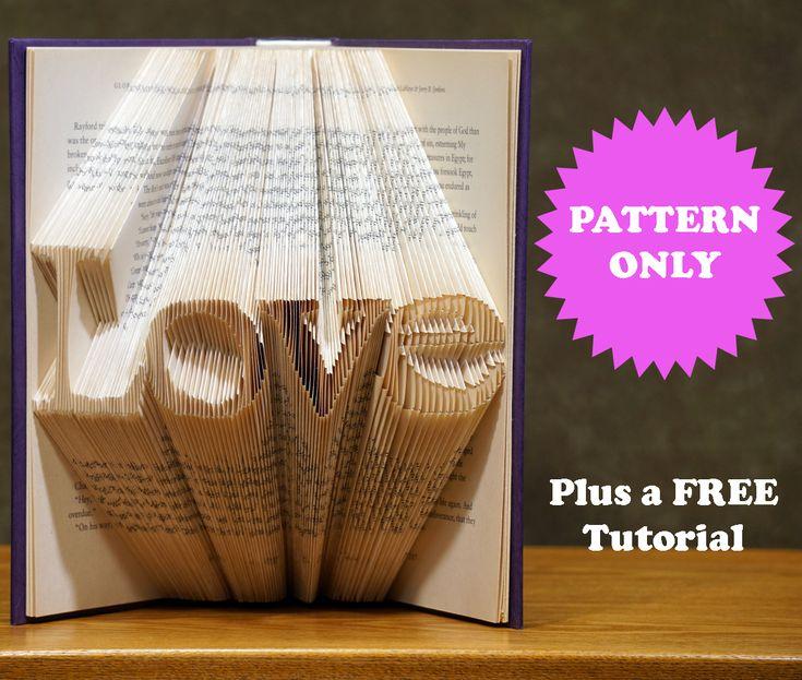 Book Folding Pattern Love Fold Only 2 Sizes Tutorial Etsy Book Folding Patterns Book Folding Folded Book Art