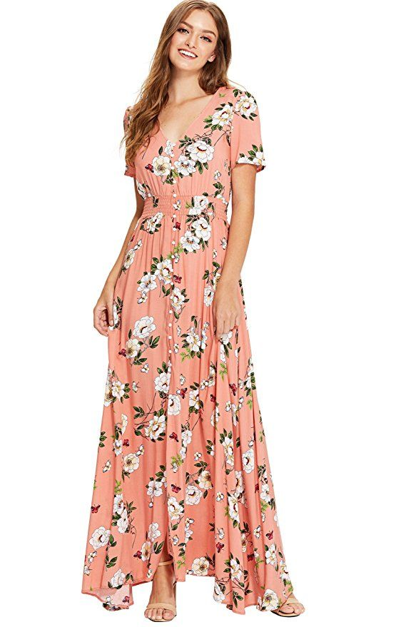 0bdcc1f00189 Milumia Women's Button up Split Floral Print Flowy Party Maxi Dress Small  Multicolour-red at Amazon Women's Clothing store: