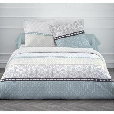 Matière : 100% coton tissé serré 57 fils - Dimensions : 220x240 cm/65x65 cm - Coloris : blanc et bleu - Lavage à 40°C