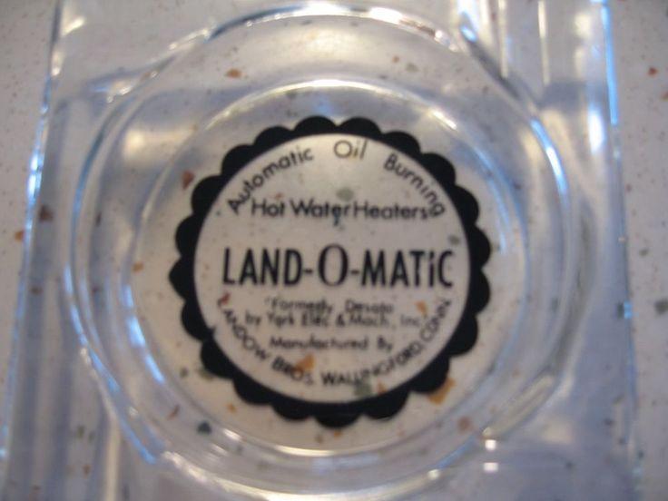 VINTAGE LAND-O-MATIC GLASS ASHTRAY WALLINGFORD CONNECTICUT