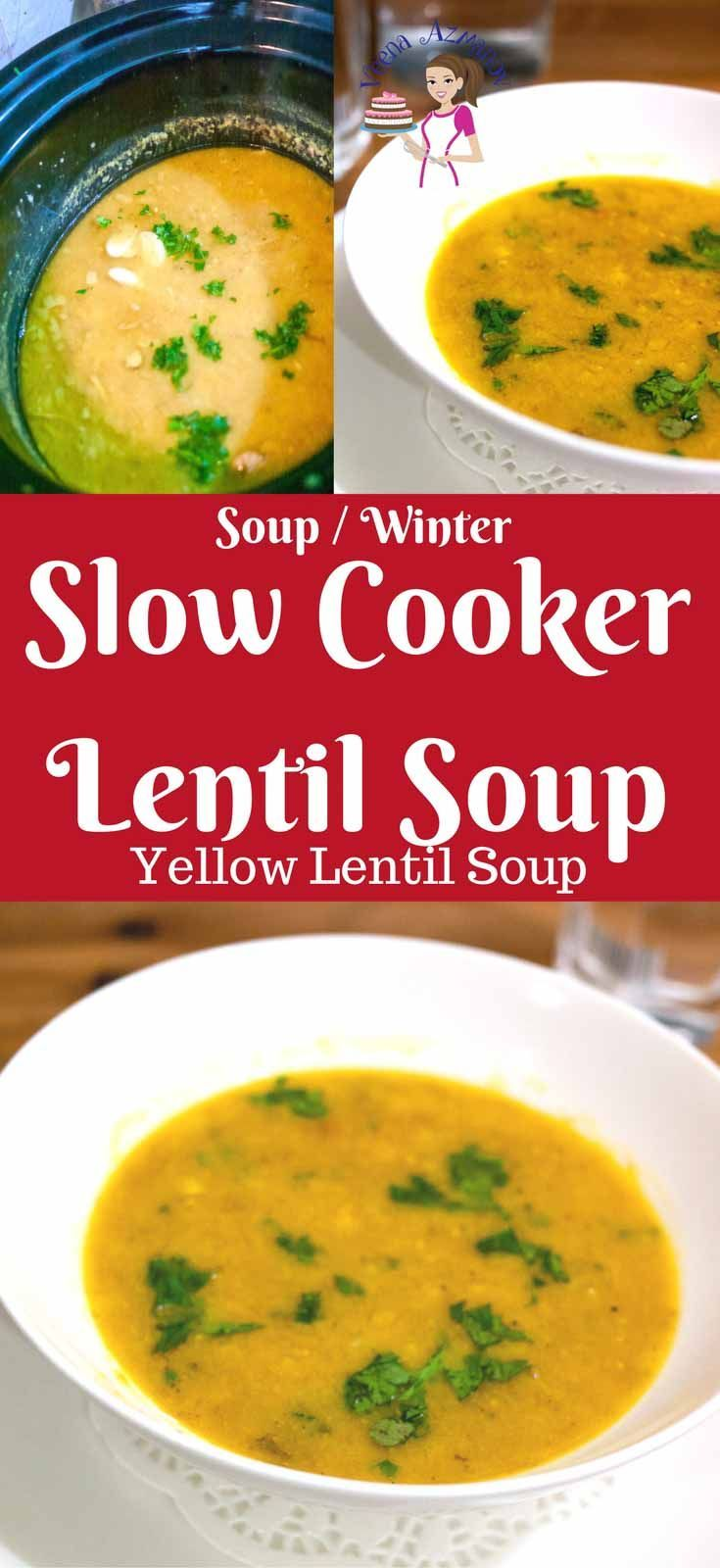 This slow cooker lentil soup is not just nutritious but hearty and flavorful. Serve it with crusty bread and a side salad for a simple week night dinner. The lentils are cooked until so soft you can barely see the grains. The fresh cilantro add so much more than just flavor. #lentil #soup #winter #comfortfood #soups #healthy #yellowlentil #souprecipes #cooking  #slowcooker via @Veenaazmanov #veenaazmanov veenaazmanov.com