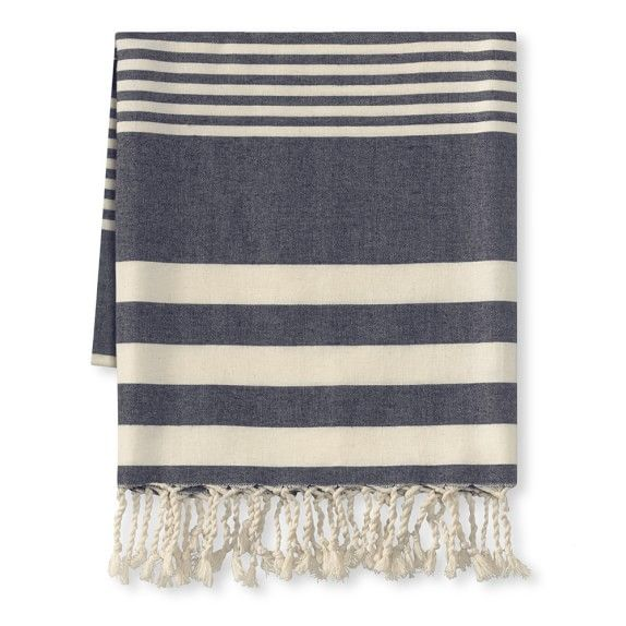 Montauk Light Weight Stripe Throw, Navy