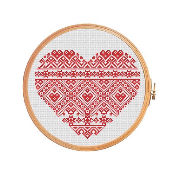 Red heart - cross stitch pattern Valentine's Day geometric folk art mothers day wedding gift love ornament redworks ornament valentine decor