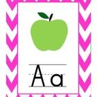 This is an adorable alphabet set to be displayed in the front of the classroom with a chevron border.This could also be used for flash cards.
