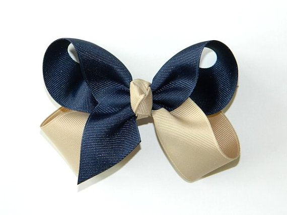 Navy+&+Tan+Large+Hair+Bow++School+Uniform+Hair+by+virginiabows,+$5.99