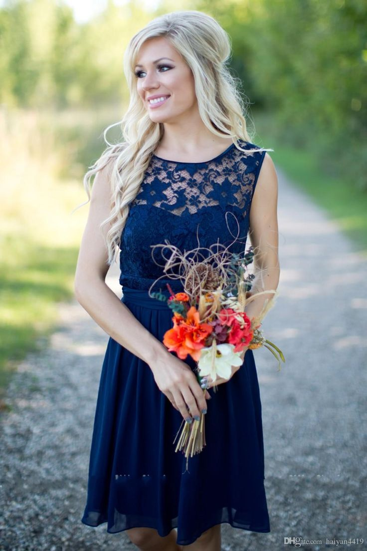 Cheap Country Bridesmaid Dresses 2016 For Weddings Illusion Neck Chiffon Lace Navy Blue Sash Party Knee Length Maid Honor Gowns Under 100
