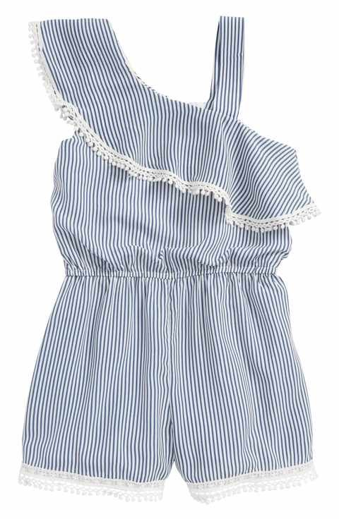 b7f5d69511f Truly Me Stripe Ruffle Romper (Toddler Girls   Little Girls)
