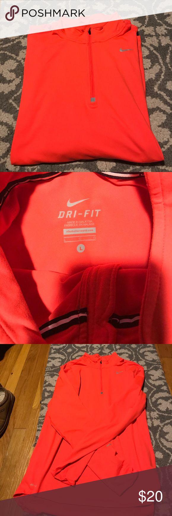 Nike Dri FIT Zip Up Perfect Condition! Great bright orange color Nike Shirts Sweatshirts & Hoodies