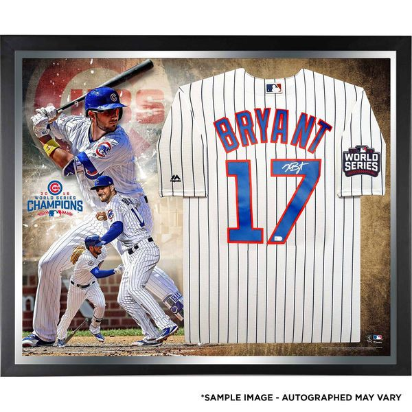 Kris Bryant Chicago Cubs Fanatics Authentic 2016 MLB World Series Champions Framed Autographed Majestic White Replica World Series Jersey Collage - $1099.99