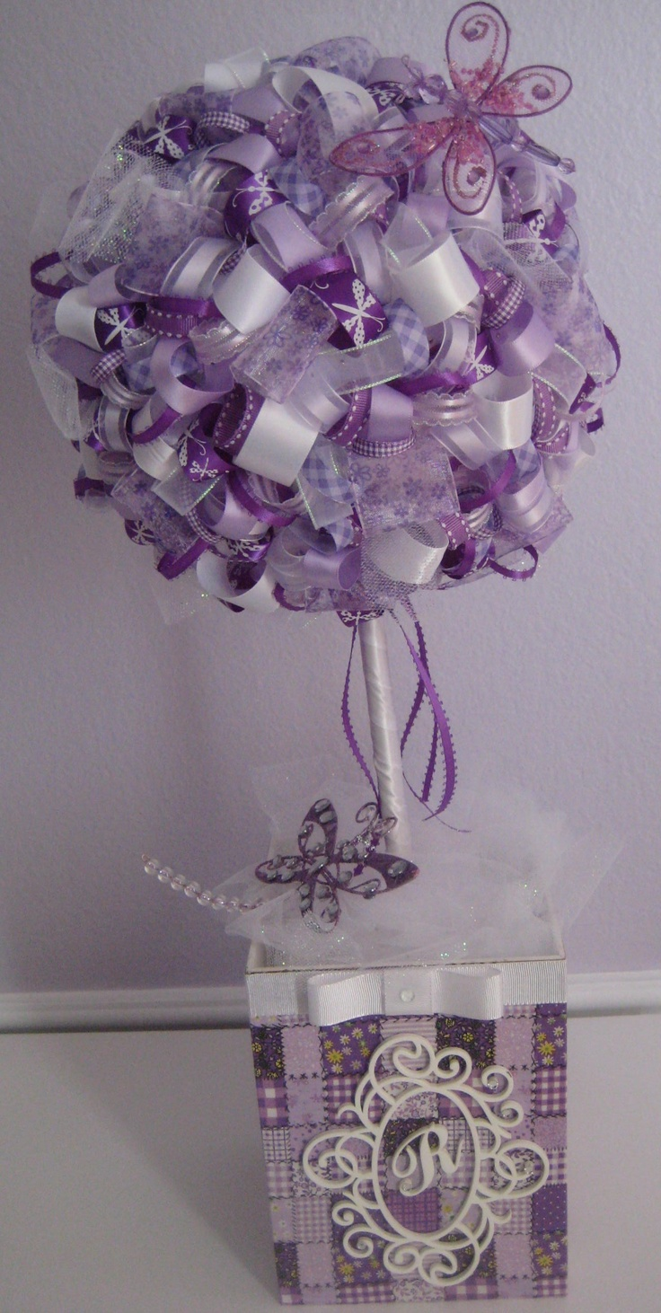 Purple ribbon topiary