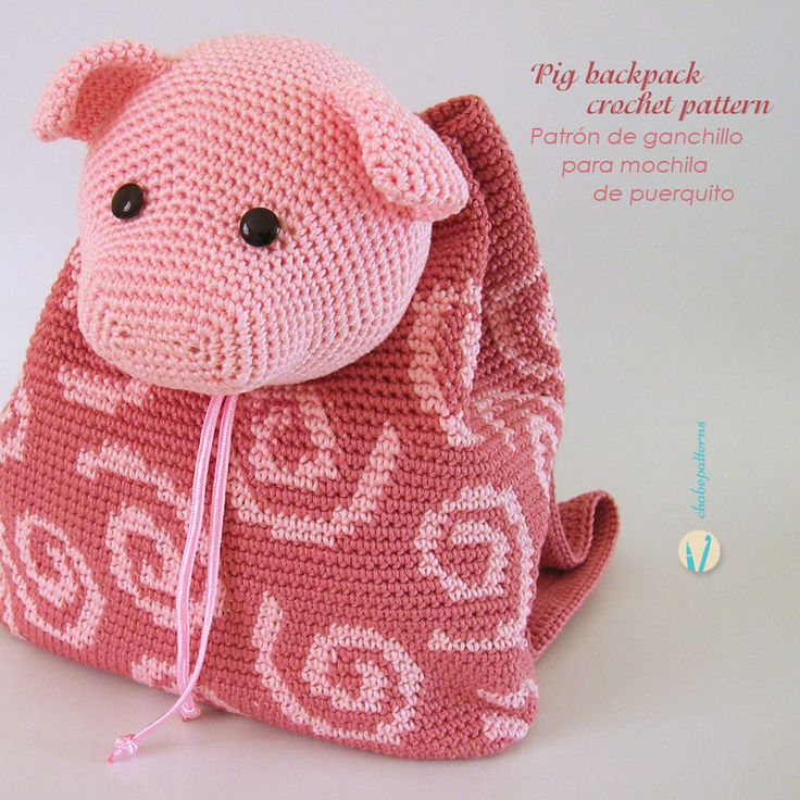 A cute pink pig is the new member of the kids' backpacks pattern collection. The choice for the texture was its distinctive coiled little tail. Construction is the same as for the other models (giraffe, hippo and dino), the bag…