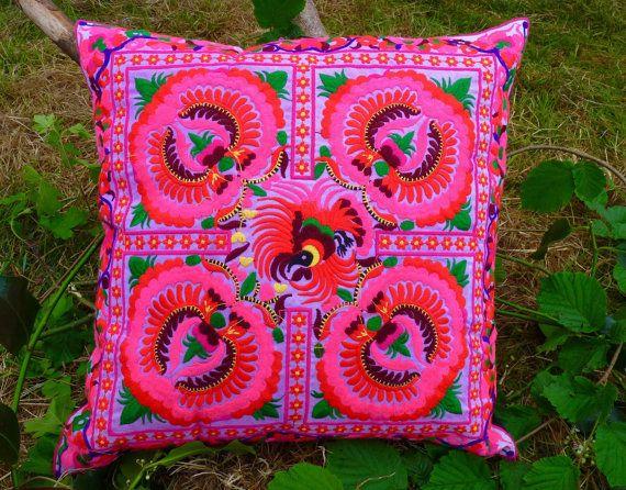Thai Cushion Cover Pink Cushion Embroidered Cushion Bohemian Cushion Hmong Cushion
