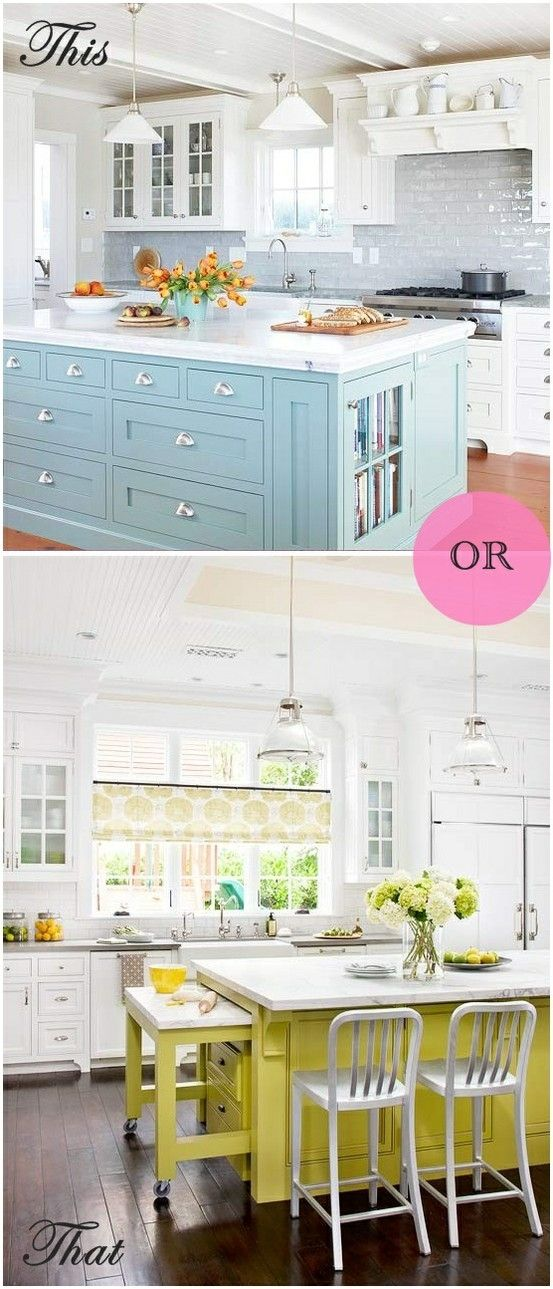 Bright Kitchens by margery (note to self: you pinned this for the top image showing neutral backsplash w/ bright island)