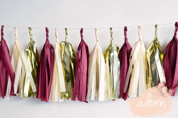 Maroon and Gold Tassel Garland by Adorneventstyling on Etsy