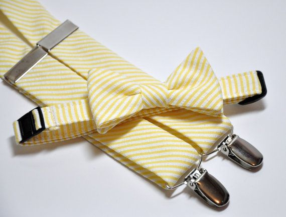 For Cale and Brady   Boys Bow Tie and Suspender Set Yellow Striped by MeandMatilda, $45.99