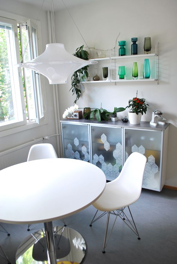 Kitchen, Lokki light by Innolux, String shelves, DSR chair by Vitra