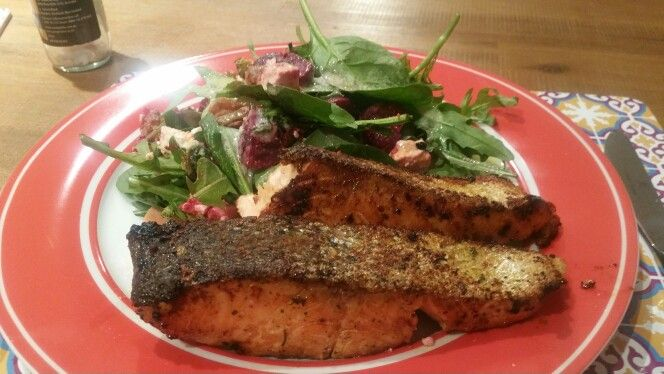 Crispy Skinned Salmon with Beetroot and Fetta Salad