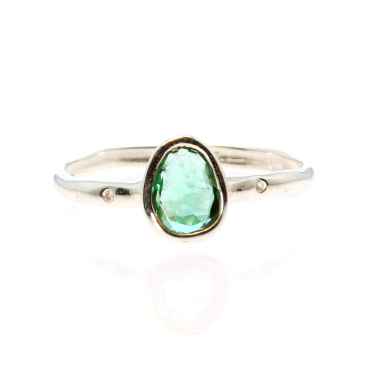 Green Tourmaline and White Sapphire Ring