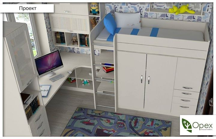 Если в детской мало места, а нужно разместить много чего  :) ))), - то вопрос решается очень просто! Как? Нужно сделать кровать-чердак!  Дети просто обожают такие высокие гнездышки! А внизу поместится и шкаф, и полки для книг и игрушек, и грараж для машин )) Представленный проект разработан для комнаты 2,5*3,2 метра. В ней поместился большой письменный стол, пенал, навесной шкафчик с полками, кровать, платяной шкаф и открытые полки для игрушек.  Мебель для детских мы делаем из ДСП наивысшего…