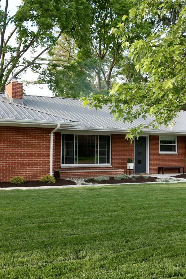 58 best metal roofing images on pinterest exterior homes for Metal roof pictures brick house