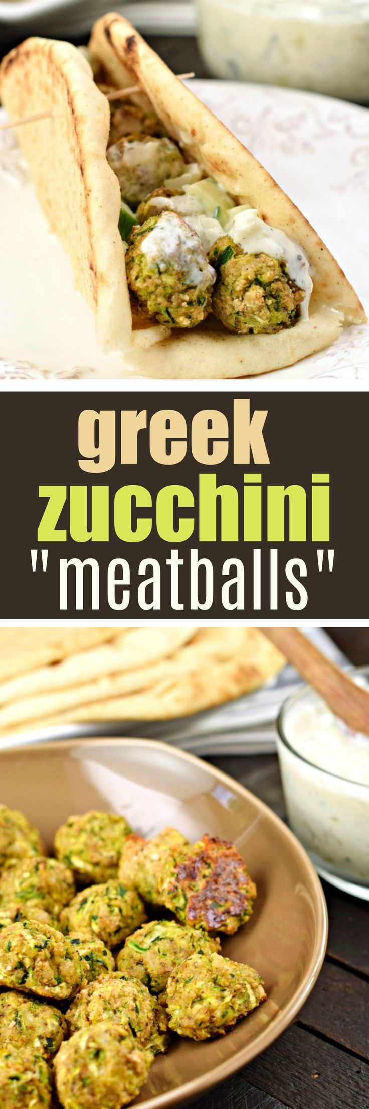Greek Zucchini Meatballs #healthy #vegetarian #meatless #zucchini #greek #recipe #tzatziki #healthyrecipes