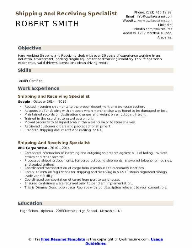Shipping And Receiving Specialist Resume Samples Retail Resume Administrative Assistant Resume Manager Resume