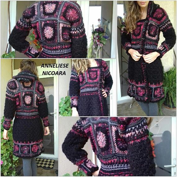 Second payment M/Crochet Hooded Coat/Asymmetrical Autumn