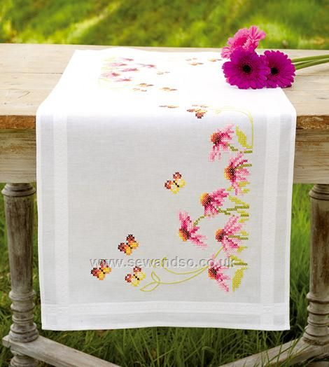 Buy Echinacea and Butterflies III Table Runner, 40 x 100cm Cross Stitch Kit Online at www.sewandso.co.uk