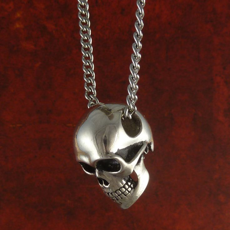 Human Skull Necklace Antique Silver Skull Jewelry by LostApostle, $60.00